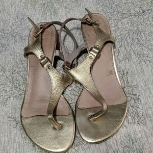 Aldo Shoes - Gold Leather Low wedge sandals